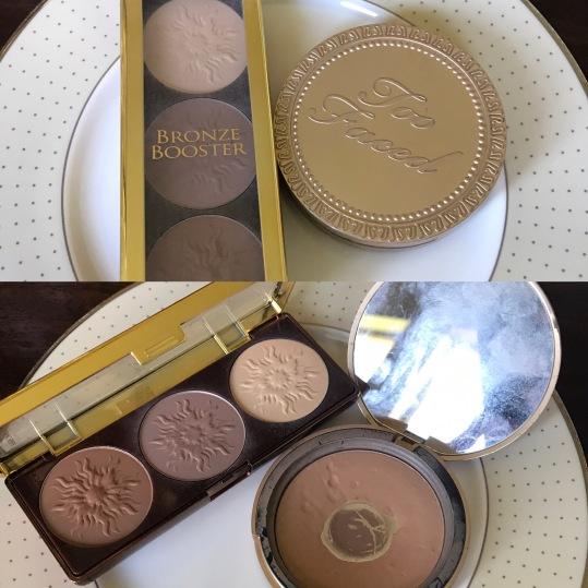 Left: Physician's Formula MATTE Bronze Booster Sculpting Kit. Right: Too Faced Light Chocolate Soleil